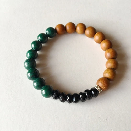 Wealth & Protection Bracelet ~ Malachite, Black Onyx, and Sandalwood