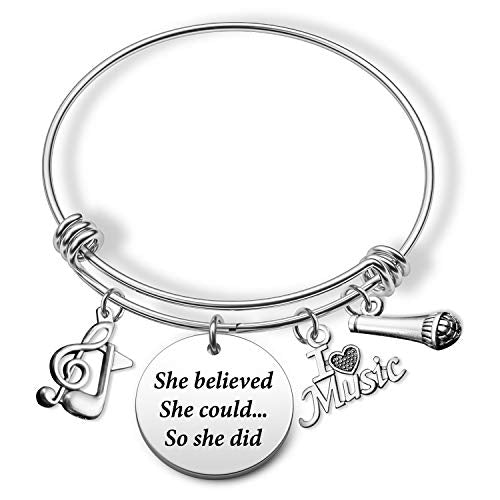 Music Gift She Believed She Could Bracelet Music Lover Gifts Musical Jewelry Inspirational Gift Singing Jewelry Gift(she Believe Music BR)