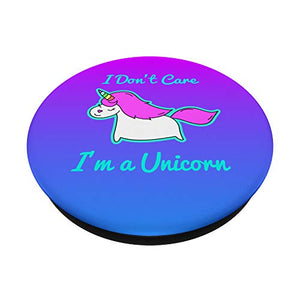 LOL Funny I Don't Care I'm a Unicorn Cyan Glow Aura PopSockets PopGrip: Swappable Grip for Phones & Tablets
