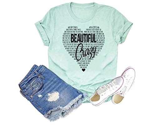 Beautiful Crazy Shirt for Women Funny Country Music Tee Heart Graphic Short Sleeve Top (Light Green, M)