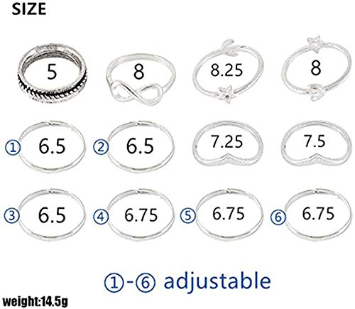 BERYUAN Women 12Pcs Rings Set Silver Knuckle Rings for Girls and Teens Stacking Rings Cute Rings Size 5 6 7 8