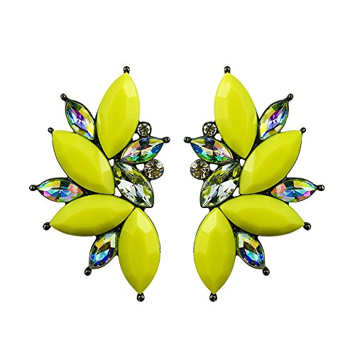 80s Funky Punk Rock Spiky Oversized Rhinestone Studded Candy Cluster Women Stud Earrings in Electric Yellow (Electric Yellow)