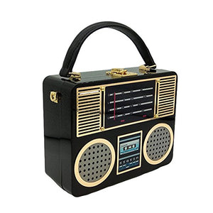 Vintage Hard Case Acrylic Radio Box Clutch Women Totes Bag Shoulder Crossbody Handbag Purse