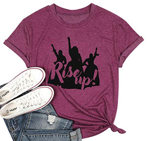 FASHGL Rise Up T-Shirt Women Hamilton Musical Tee Young Ambition Hungry Shirt Funny Graphic T Shirt (Purple, S)