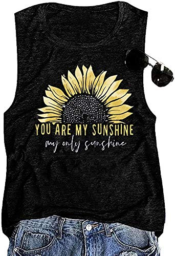 You are My Sunshine Women Sunflower Workout Tank Tops Cute Graphic Relaxed Athletic Holiday Vest Shirt Tee, Black L