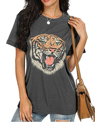 ANIXAY Women Casual Summer Animal Tiger Cute Head Short Sleeve Round Neck Printed Graphic Tee Tops Dark Gray-Small