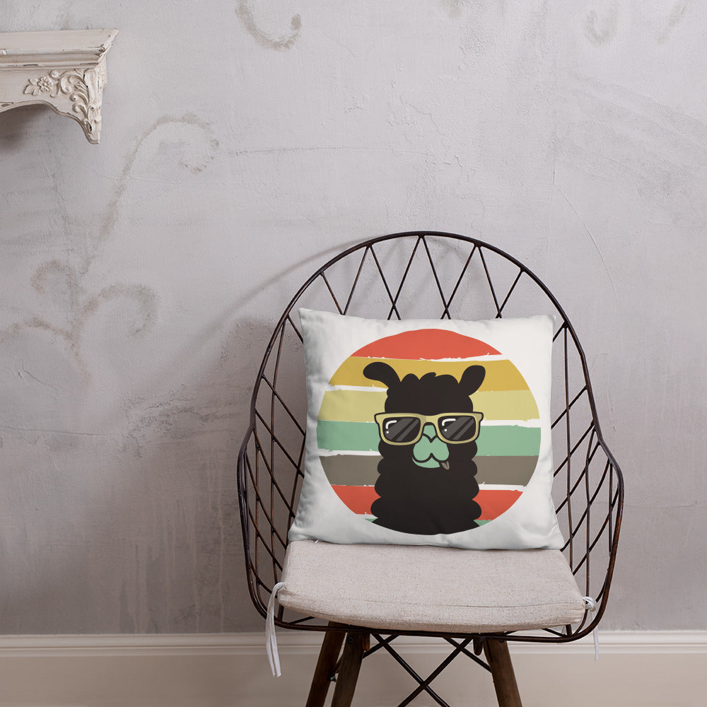 Retro Llama Cute Funny Vintage Pillow - Chloe Temtchine Throw Accent Pillow for Home Decor, Couch, or Bed