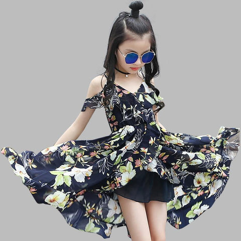 Girls Dress Bohemia Style Dresses Girls Sleeveless Floral Dress For Adolescents 8 10 12 Big Kids Girls Clothes - triple-aaa-fashion-collection