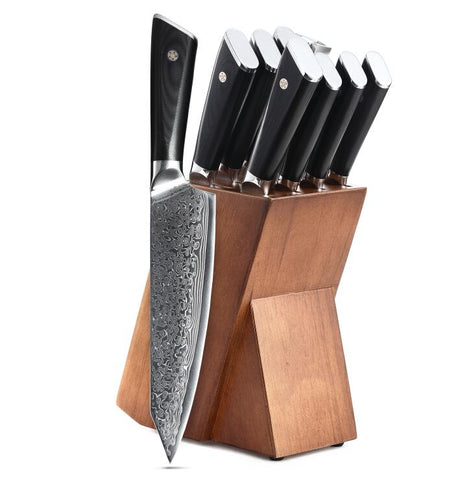 Japanese AUS10 steel 9pcs damascus knife set With knife holder - TRIPLE AAA Fashion Collection