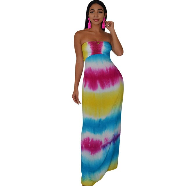 Women Summer Strapless Tie Dye Stripe Print Lace Up Hollow Out Back Maxi Dress Bohemian Elegant Long Beach Dresses Vestidos - TRIPLE AAA Fashion Collection