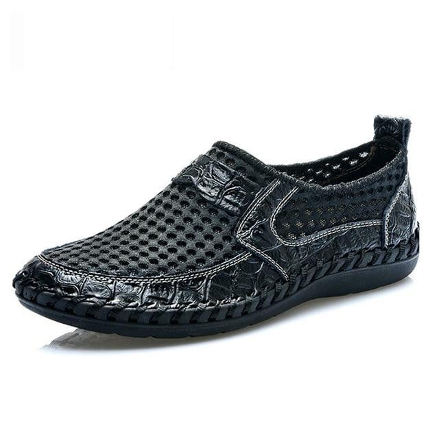 Breathable Mesh Shoes Italy Loafers Mens Casual Shoes Genuine Leather Slip On Brand Shoes Man - TRIPLE AAA Fashion Collection