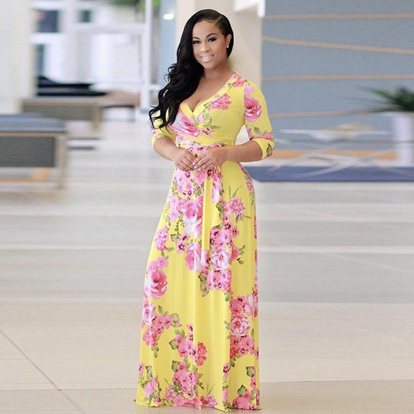 Bigsweety Boho Sexy V Neck Women Robe Dress Half Sleeve Floral Long Dress Female Loose Beach Maxi Dress Vestidos Large Size 5XL - TRIPLE AAA Fashion Collection