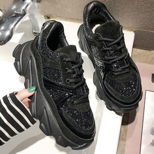 Womens Sneakers Trainers Platform Wedges Chunky Sneakers Black Sneakers Women Casual Shoes Woman Baskets chaussures femme - TRIPLE AAA Fashion Collection