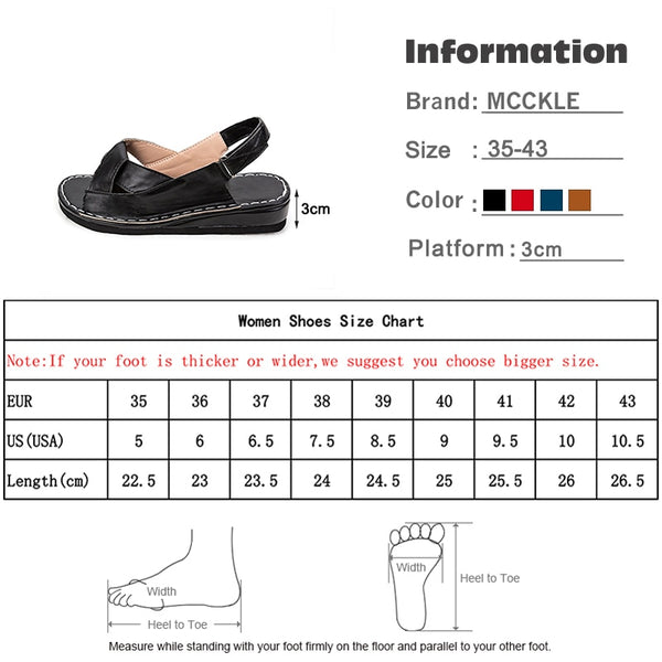 MCCKLE Women Sandals Summer Female Shoes Women's Peep Toe Wedge Woman Comfortable Plus Size Female Platform Ladies 2020 New - TRIPLE AAA Fashion Collection