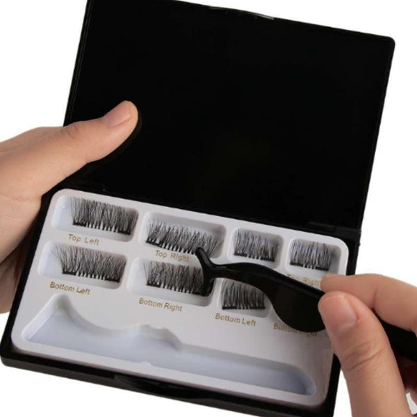8pcs Magnetic eyelashes with 3 magnets handmade 3D magnetic lashes natural false eyelashes magnet lashes with gift box 40 - TRIPLE AAA Fashion Collection