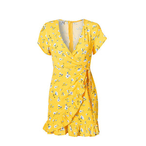 Sexy Wrap V Neck Floral Print Yellow Women Mini Dresses 2018 Summer Party Beach Ruffles Boho Dress - TRIPLE AAA Fashion Collection
