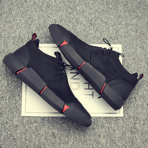 Black Men's Leather Casual Shoes Fashion Breathable Sneakers - TRIPLE AAA Fashion Collection