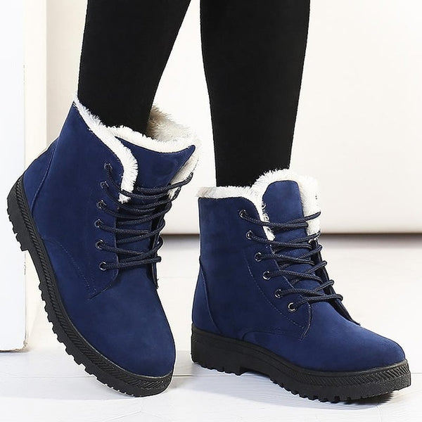 Snow boots 2019 warm fur plush Insole women winter boots square heels flock ankle boots women shoes lace-up winter shoes woman - TRIPLE AAA Fashion Collection