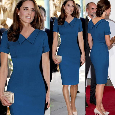 Catherine Elizabeth Middleton Princess Kate Pencil Dress Women Elegant Celebrity Peter Pan Collar Short Sleeve Work Office Dress - triple-aaa-fashion-collection