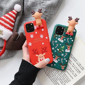 Christmas Cartoon Deer Case For iPhone XR 11 Pro XS Max X 5 5S Silicone Matte Cover For iphone 7 8 6 S 6S Plus 7Plus Case Bear - TRIPLE AAA Fashion Collection
