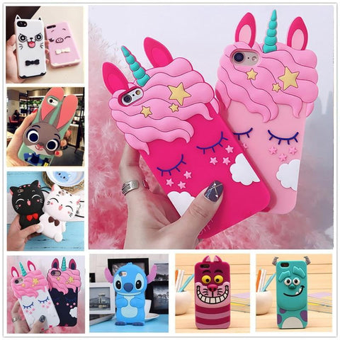3D Cartoon Soft Silicone Phone Case For iPhone 5S 6 6S 7 8 Plus X Cover Mickey Judy Rabbit Smile Cat Tiger Stitch Unicorn Animal - TRIPLE AAA Fashion Collection
