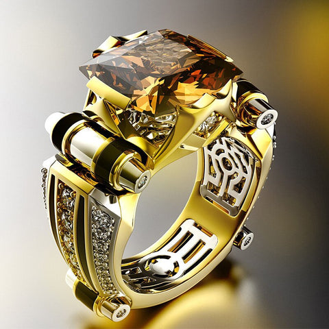 Gold with Black Stone Men's Ring Steampunk Vintage Engement Lovly Wedding Rings