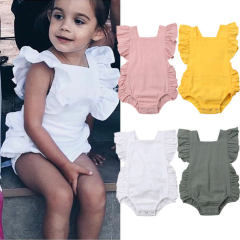 Newborn Baby Girl Ruffled Solid Color Sleeveless Backless Romper Jumpsuit Outfit Sunsuit - TRIPLE AAA Fashion Collection