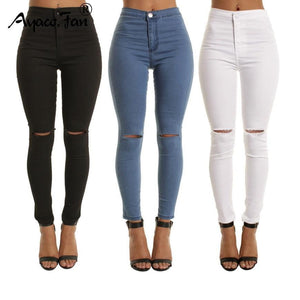Autumn White Hole Skinny Ripped Jeans Women Jeggings Cool Denim High Waist Pants Capris Female Skinny Black Casual Jeans - TRIPLE AAA Fashion Collection