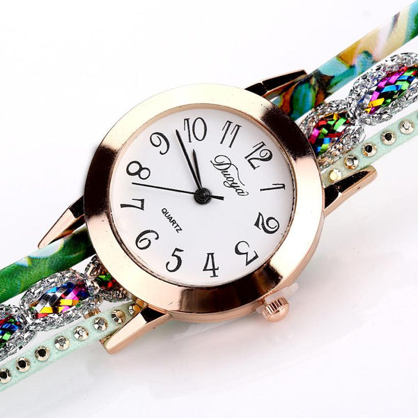 Top Brand Luxury Watches Women Flower Popular Quartz Diamond Leather Bracelet Watch Female Ladies Gemstone Dress Wristwatch - TRIPLE AAA Fashion Collection