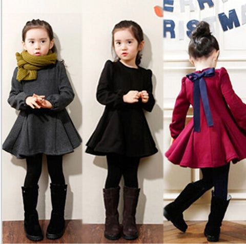 Winter Girls Dress Thicken Girls Warm Cotton A letter Dress Kids Cute Style Comfortable material big Peplum with Dress GA - TRIPLE AAA Fashion Collection