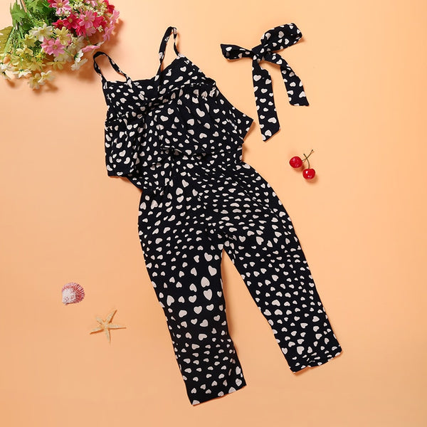 Summer Kids Girls Clothing Sets Cotton Sleeveless Polka Dot Strap Girls Jumpsuit Clothes Sets Outfits Children Suits - TRIPLE AAA Fashion Collection