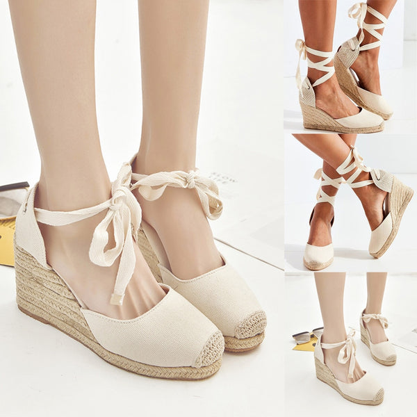 Women Spring Casual Wedge Cross Strap High Heel Platform Pump Shoes sandals - TRIPLE AAA Fashion Collection