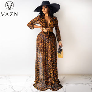 VAZN Spring and Summer 2021 European and American Women's Leopard Print Chiffon Print Skirt Set of 2 Pieces (Without Underwear) - TRIPLE AAA Fashion Collection