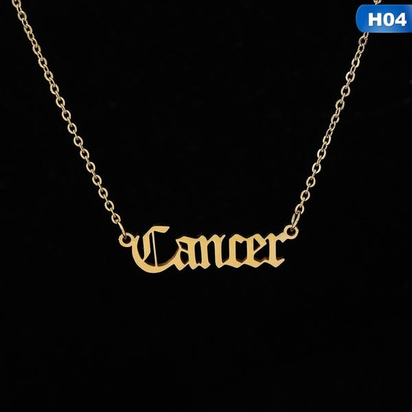 12 Zodiac Letter Constellations Pendants Necklace For Women Men Virgo Libra Scorpio Sagittarius Capricorn Aquarius Birthday Gift - TRIPLE AAA Fashion Collection