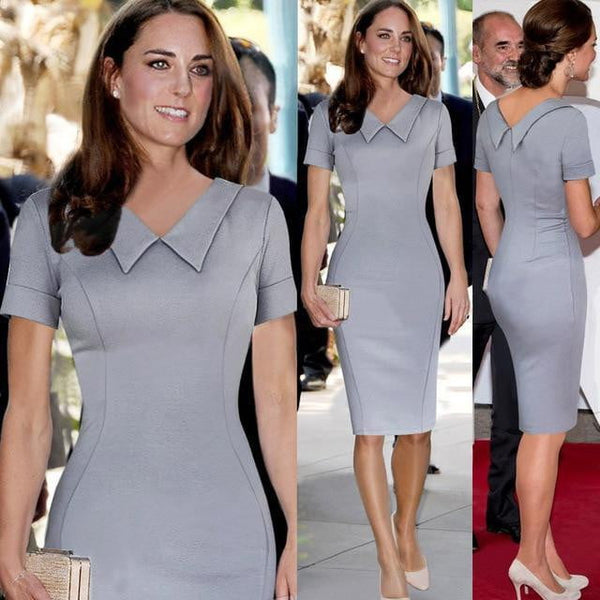 Catherine Elizabeth Middleton Princess Kate Pencil Dress Women Elegant Celebrity Peter Pan Collar Short Sleeve Work Office Dress - TRIPLE AAA Fashion Collection