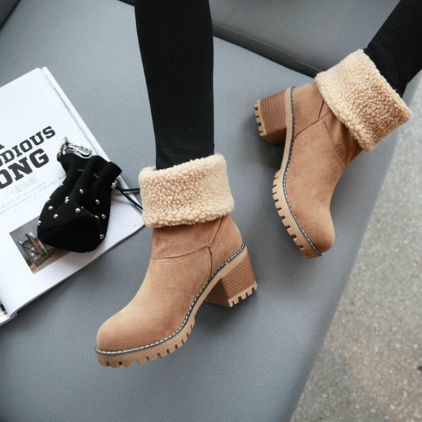 New Women Boots Winter Outdoor Keep Warm Fur Boots Waterproof Women's Snow Boots Thick Heel With Round Head Short Boot - TRIPLE AAA Fashion Collection