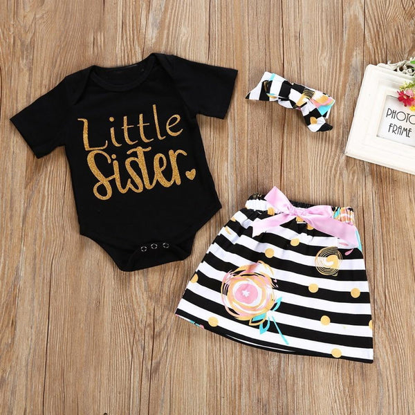 3Pcs T-shirt Romper Skirt Headband Big Little Sister Twins Clothes Baby Girl Clothes Outfits Set - TRIPLE AAA Fashion Collection