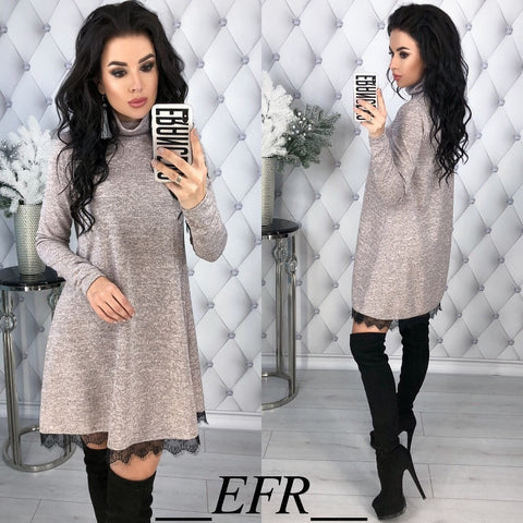 Spring Winter Style Turtleneck Long Sleeve A-line Lace Hem Elegant Warm Dress Knitting Mini Vestidos - TRIPLE AAA Fashion Collection