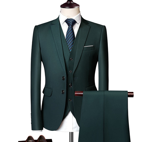 Wedding Prom Suit Green Slim Fit Tuxedo Men Formal Business Work Wear Suits 3Pcs Set (Jacket+Pants+Vest) - TRIPLE AAA Fashion Collection
