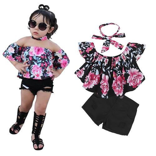 Children Sets for Girls Girls Suits for Children Girls T-shirt + Pants + Headband 3pcs. Suit - TRIPLE AAA Fashion Collection