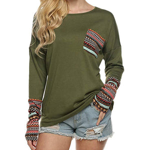 Women's Long Sleeve O-Neck Patchwork Casual Loose T-Shirts Blouse - TRIPLE AAA Fashion Collection