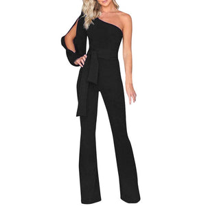 Womail bodysuit Women Summer Casual Solid Long Sleeve Cold Shoulder Jumpsuit Clubwear Wide Leg Jumpsuit - TRIPLE AAA Fashion Collection