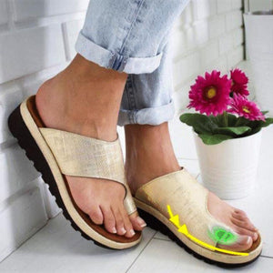 Women PU Leather Shoes Comfy Platform Flat Sole Ladies Casual Soft Big Toe Foot Correction Sandal Orthopedic Bunion Corrector - triple-aaa-fashion-collection