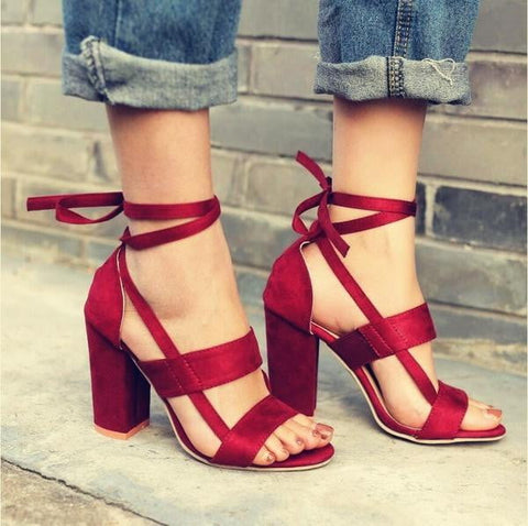 Cross Strap High Heel Thick Heel Plus Size women Shoes Sandals - TRIPLE AAA Fashion Collection