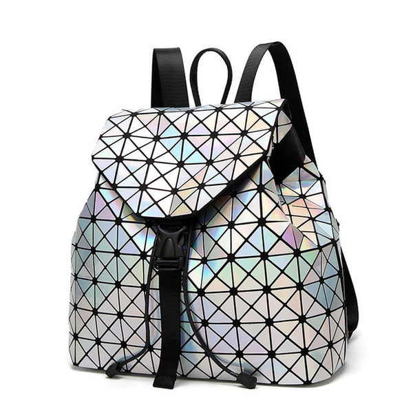 Women Backpack Luminous Geometric Plaid Sequin Female Backpacks For Teenage Girls Bagpack Drawstring Bag Holographic Backpack - TRIPLE AAA Fashion Collection