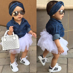 0-5T Babies Girl Summer Clothing Set Baby Girls Denim Shirt Top +Tutu Skirts+Headband 3pcs Outfits Sets - TRIPLE AAA Fashion Collection