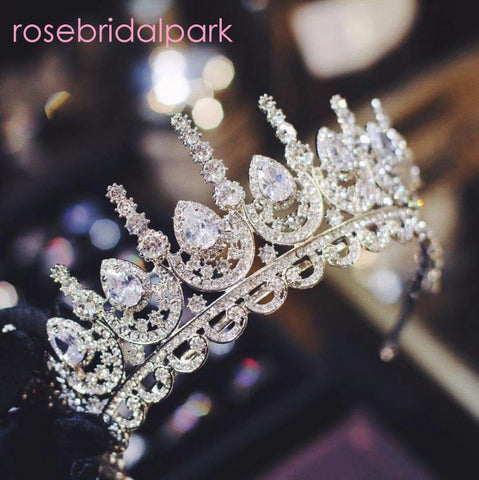Rosebridalpark 2018 Zircon Gorgeous Bridal Wedding Hair Accessories Tiara Big Cubic Zirconia Crown Headband For Bridesmaid t997 - TRIPLE AAA Fashion Collection
