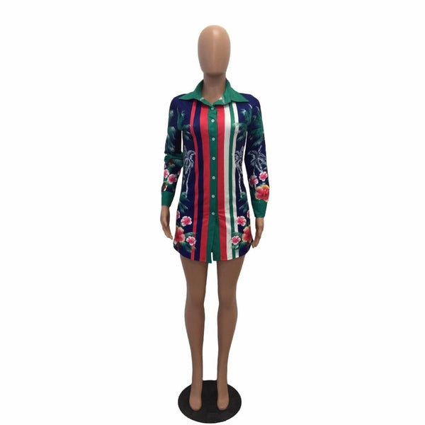 Flowers Print Shirt Dress Turn Down Collar Long Sleeve Cardigan Mini Dresses Women Blouses - TRIPLE AAA Fashion Collection