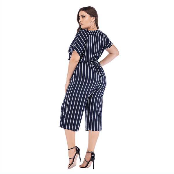 GIBSIE Summer Office Lady Elegant Belted Striped Jumpsuit Women Plus Size Wrap V Neck Casual Pocket Rompers Womens Jumpsuit - TRIPLE AAA Fashion Collection