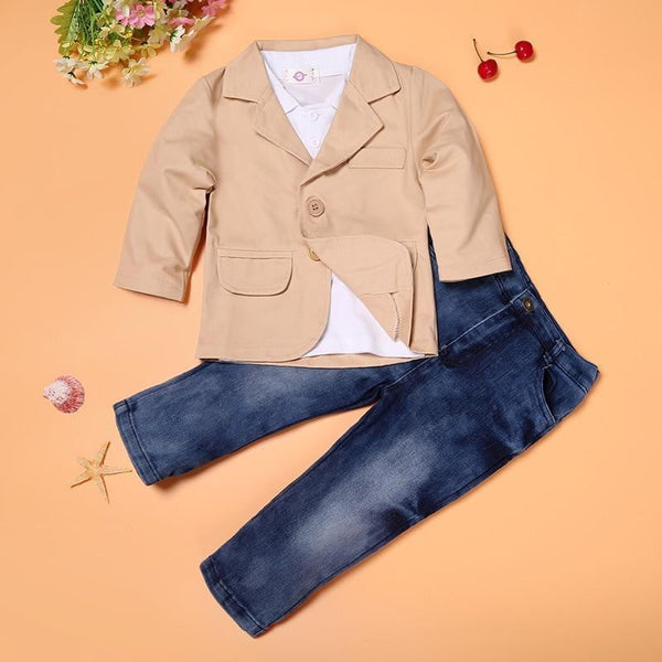 Arrival boys clothes set 3 pcs jacket + T + jeans kids European style loose-fitting costumes children's clothing - TRIPLE AAA Fashion Collection